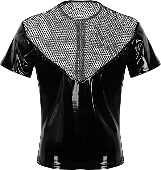 MSemis Camisa de Músculo Camiseta de Cuero Malla para Hombres Chaleco Transparente de Fishnet Slim Fitness Clubwear Talla M-2XL: Amazon.es: Ropa y accesorios