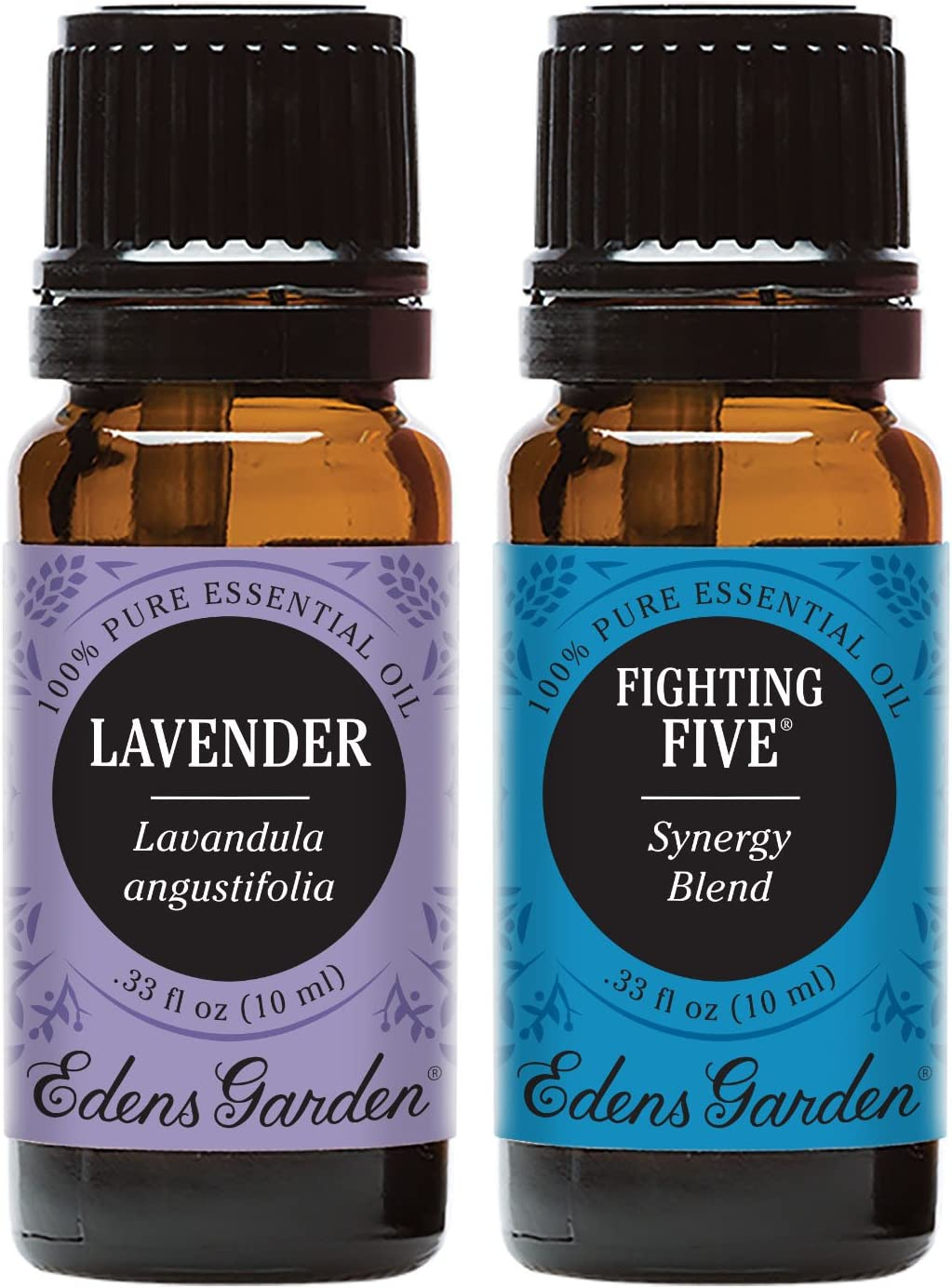 Edens Garden Fighting Five Synergy Blend & Lavender Essential Oil, 100% Pure Therapeutic Grade, 10 ml Value Pack