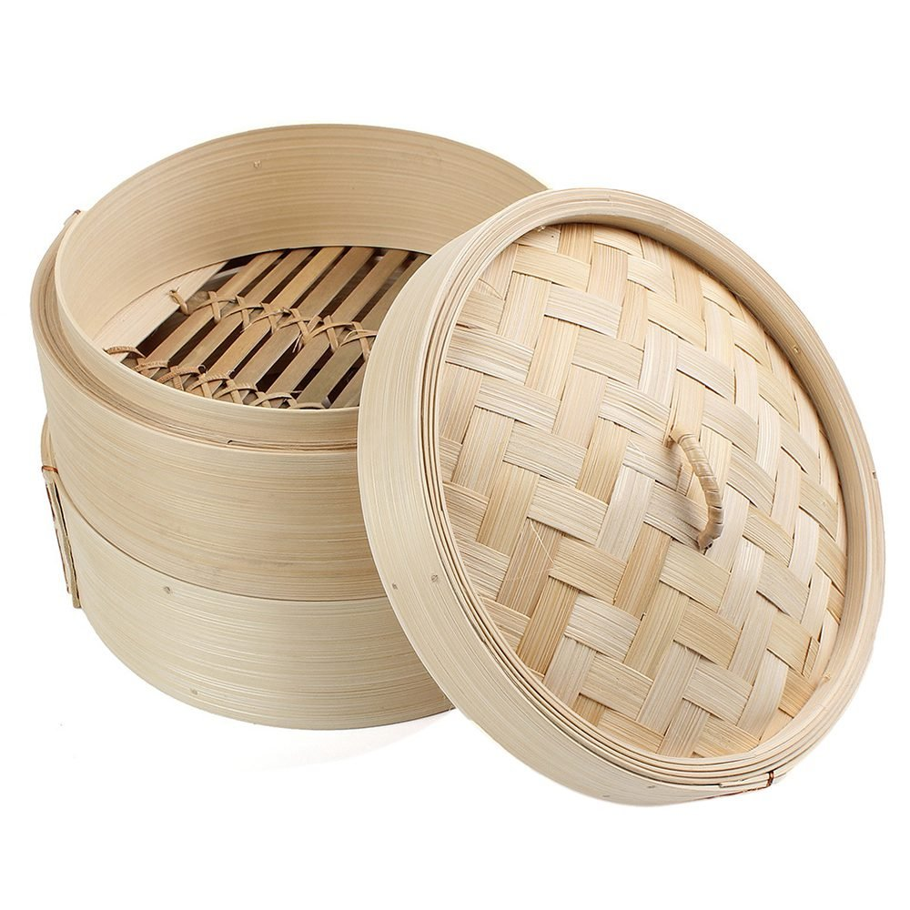 SODIAL 2 Tier 8 inch Bamboo Steamer Dim Sum Basket Rice Pasta Cooker Set with Lid