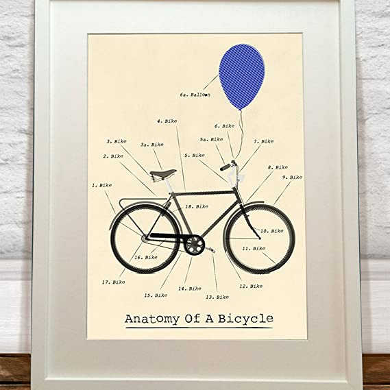 Anatomy Of A Bicycle Print Amazon Kitchen Home