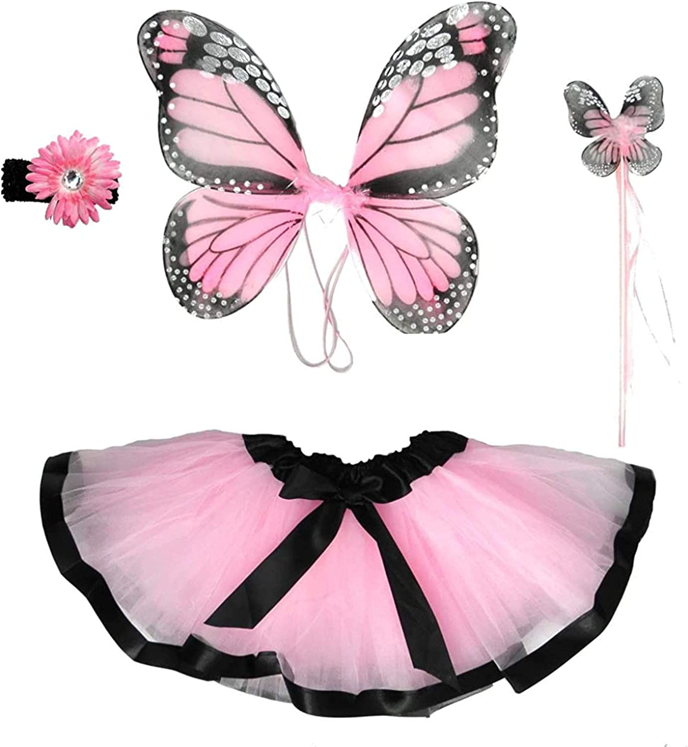 Enchantly Fairy Costume - Fairy Wings for Girls - Butterfly Costume for Girls - 4 Piece Set Monarch Butterfly