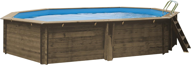 Gre CANELLE - Piscina Elevada Ovalada de Madera, 551 x 351 x 119 ...