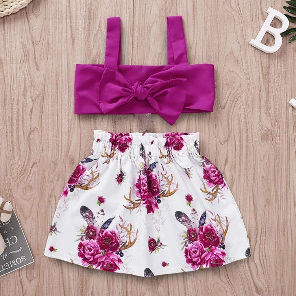 DWQuee Little Girls Kleidung Set Neckholder Streifen Tops+Pants Outfits f/ür 0-5 Jahre