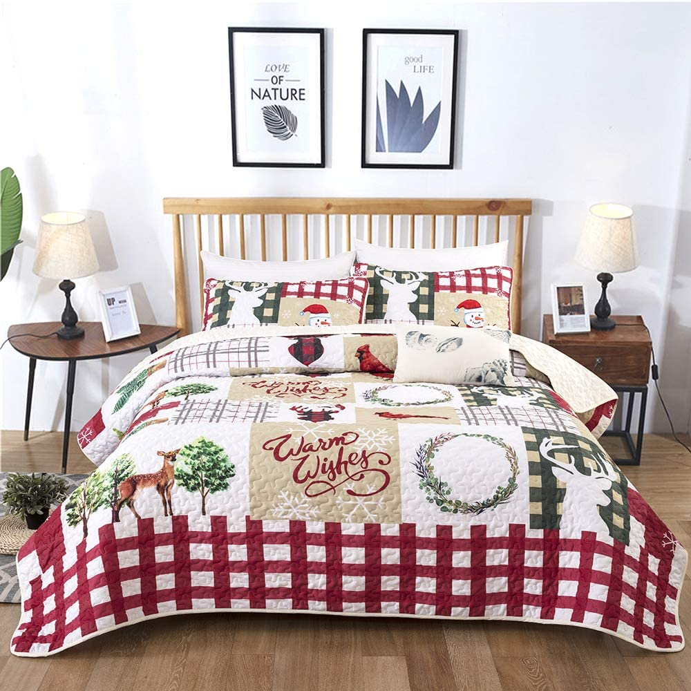 Christmas Bedspread Set King, Rustic Christmas Santa Tree Snowman Pattern Printed Quilt Set Coverlet with 2 Pillow Shams, Ultra Soft Micorfiber Solid Quilted Bedspread for All Seasons