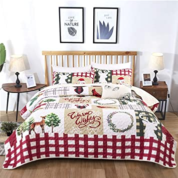 Christmas Bedspreads And Quilts.Christmas Bedspread Set King Rustic Christmas Tree Deer Snowman Pattern Printed Quilt Set Coverlet With 2 Pillow Shams Ultra Soft Micorfiber Solid