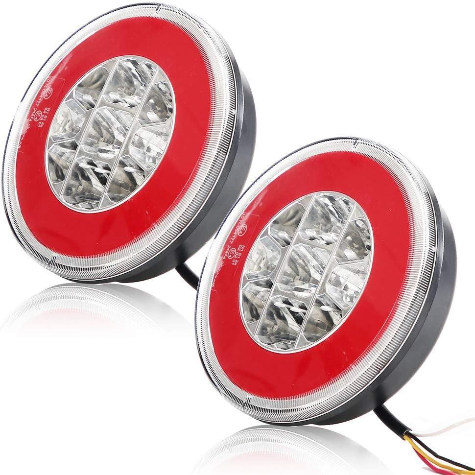 rosso /& ambra, il giro Hawkeye 2 PCS LED luce Rimorchio Fari Posteriori Amburgo Rotonda Luci Fanali Posteriori per Camion Furgone Trattore