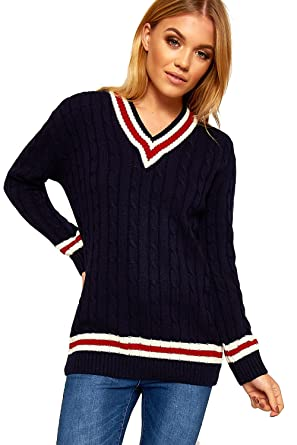 28ad5eec1fc0 Ladies Knitted V Neck Cable Cricket Jumper Long Sleeve Womens ...