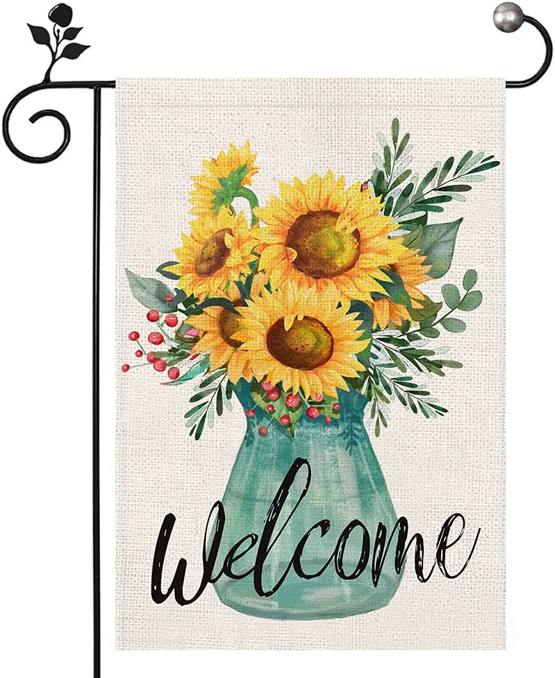 Summer Welcome Garden Flag 12x18 Inch Double Sided Vivid Sunflower Small Garden Flags for Outside Yard Farmhouse Decoration