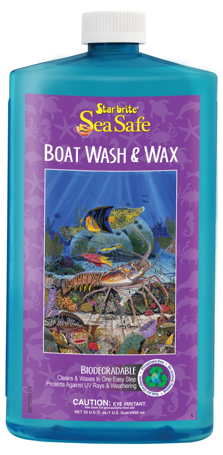 Star brite Sea Safe Wash & Wax - Biodegradable Phosphate Free One-Step Boat Soap & Protectant 32 Oz.