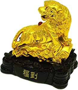Betterdecor Feng Shui Gold Chinese Zodiac Tiger on Treasure Statue Home Office Decoration for Good Luck (Tiger)