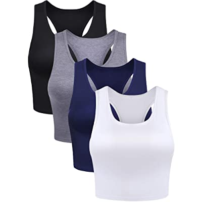 4 Pieces Women Cotton Basic Sleeveless Racerback Tank Top Camisole Sports Crop Top for Daily Wearing at Amazon Women's Clothing store