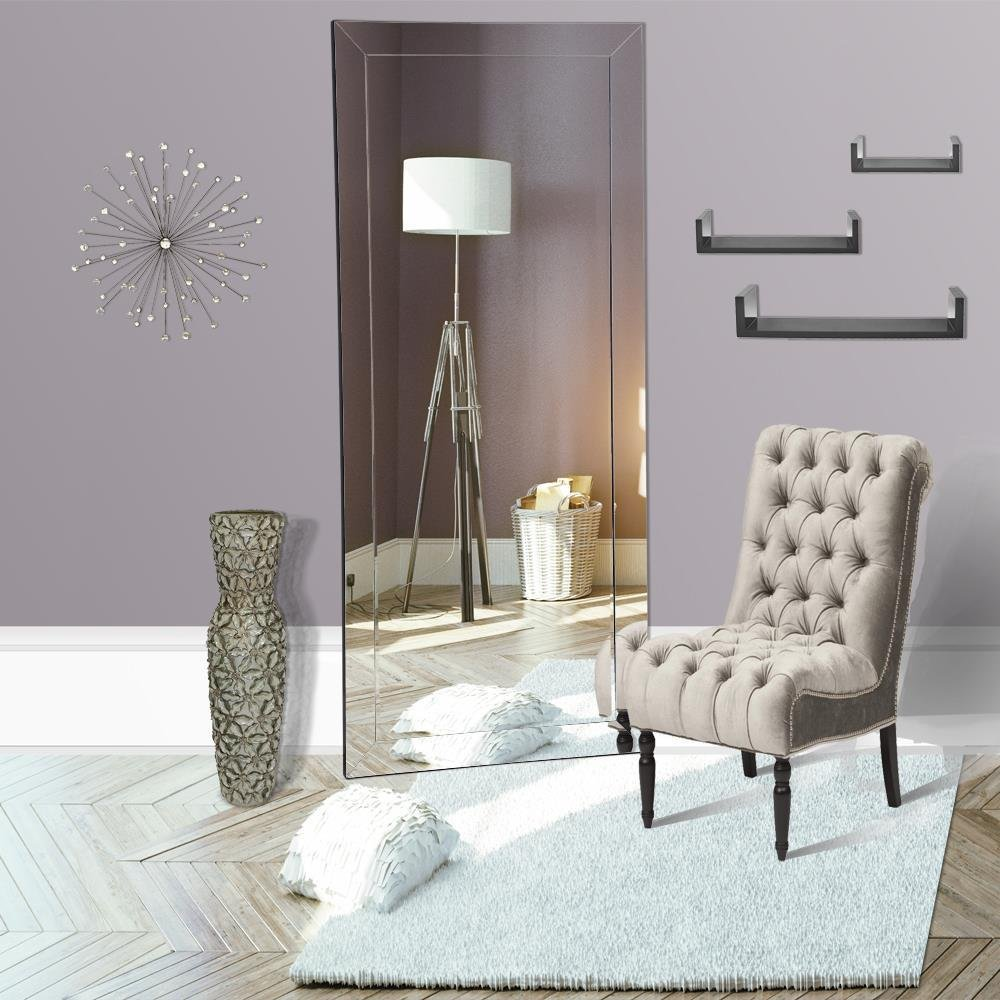 Naomi Home Mirrored Bevel Floor Mirror