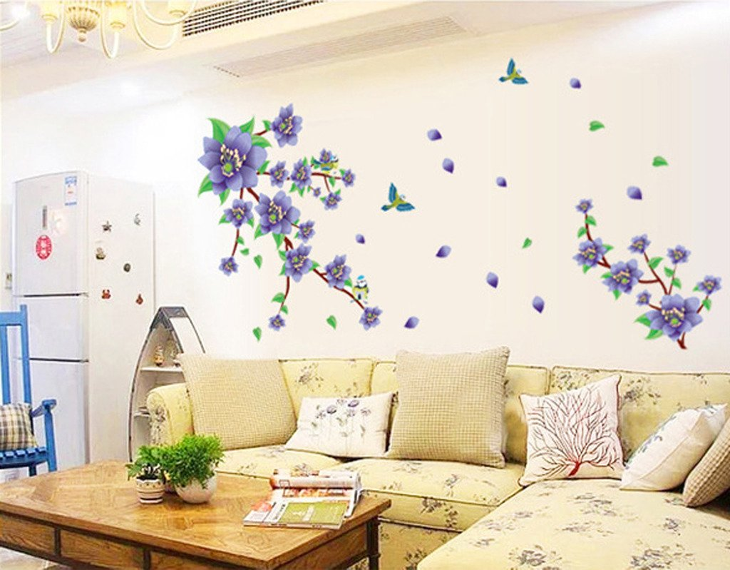 Uberlyfe Glorious Purple Flowers Wall Sticker Size 4 Wall Covering