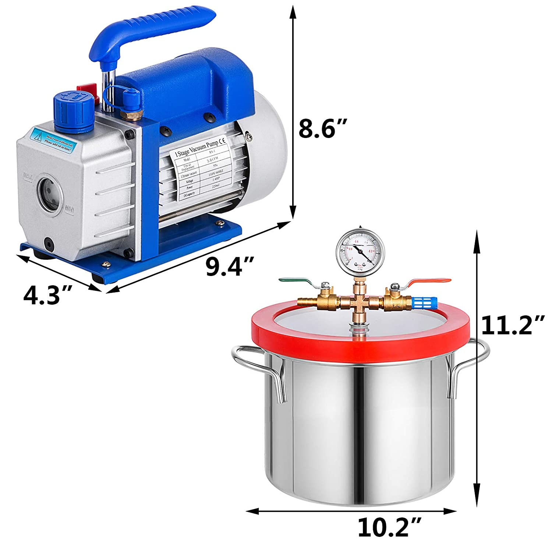 Bestauto 1.5 Gallon Vacuum Chamber Kit Stainless Steel Degassing Chamber 5.7L Vacuum Degassing Chamber Kit with 3.6 CFM 1 Stage Vacuum Pump HVAC