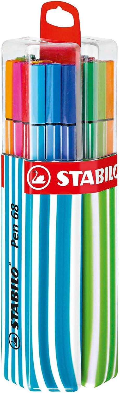 Premium Filzstift Stabilo Pen 68 20er Twin Pack In Hellblau Apfelgrün Mit Hängelasche Mit 20 Verschiedenen Farben Bürobedarf Schreibwaren