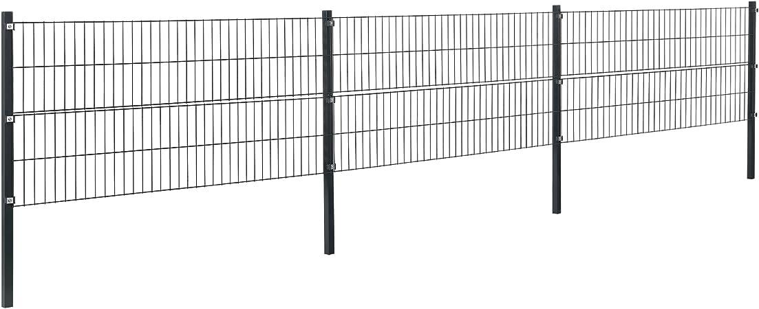 pro.tec Hojas cerca del jardín cercado Conjunto barra doble rejilla Mats malla de hierro de malla metálica de la cerca para 8 m 6 x 0: Amazon.es: Hogar