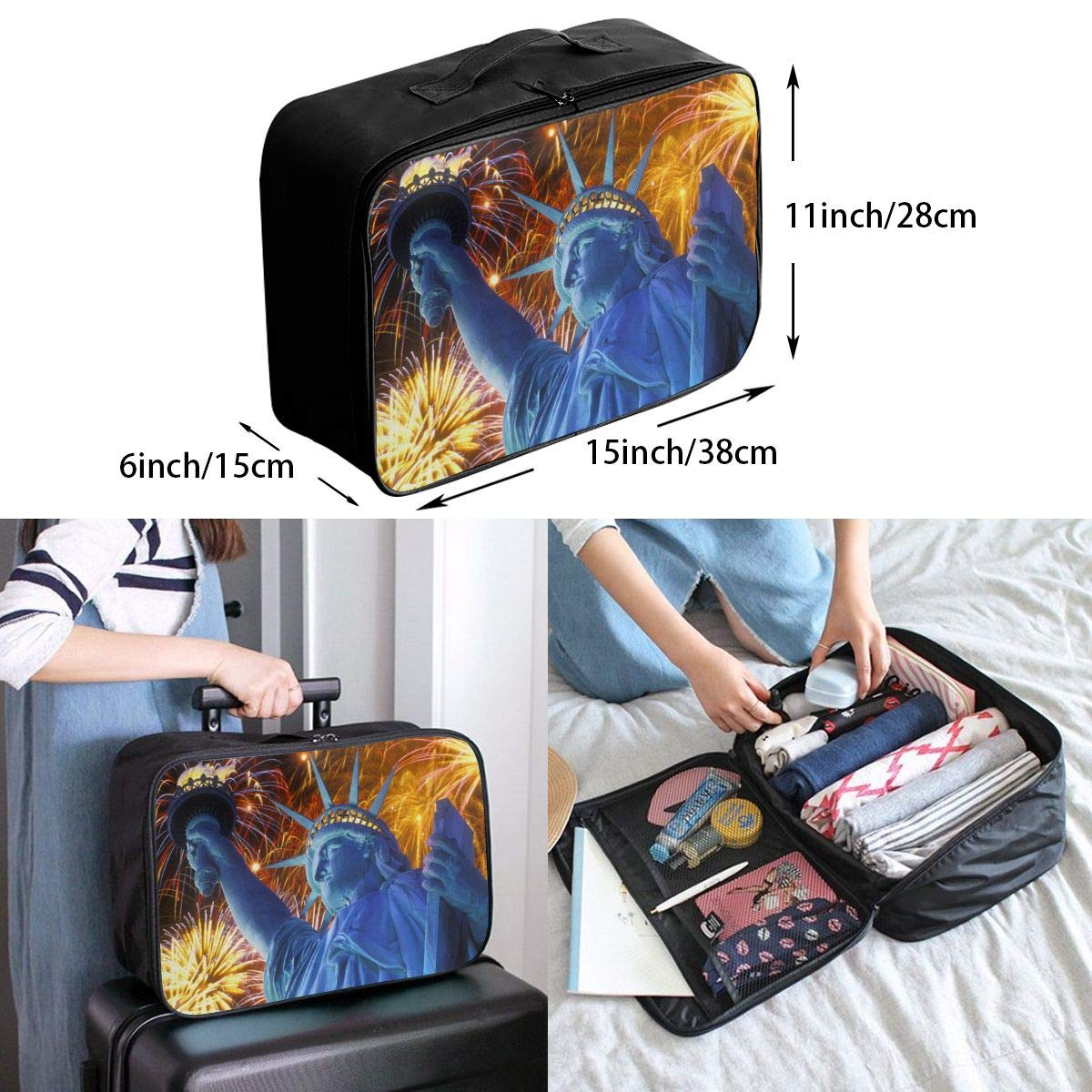 Travel Luggage Duffle Bag Lightweight Portable Handbag Statue Of Liberty Large Capacity Waterproof Foldable Storage Tote