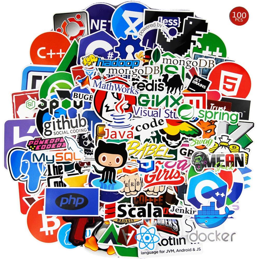 Laptop Stickers for Developer (100PCS)- Programming Stickers of Front-end dev,Back-end Languages Stickers for Software Developers, Engineers, Hackers, Programmers, Geeks, and Coders