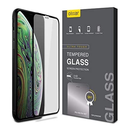 premium selection 30e44 368d3 Olixar Apple iPhone Xs Max Screen Protector - Tempered Glass Screen  Protection - 9H Rated - Shock Protection Clear