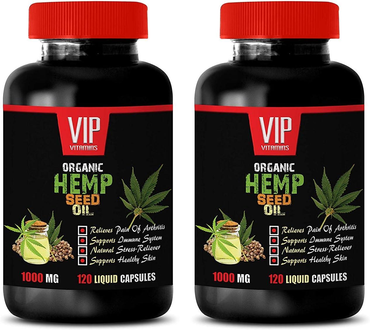 Anti inflammatory Herbal Supplement - Organic Hemp Seed Oil 1000MG - Pain Relief - Brain and Heart Health - Mood Boosting Supplements - 2 Bottle (240 Liquid Caps)
