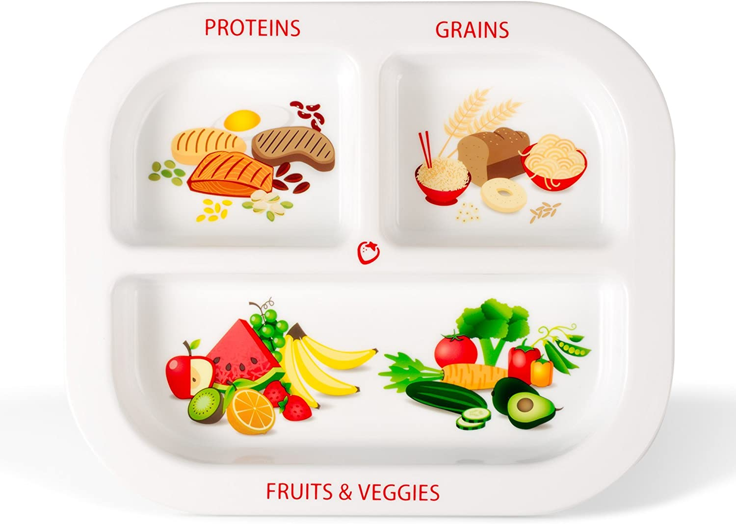 Health Beet Portion Plate for Kids, Toddlers - Rectangle Kids Plate with Dividers and Nutrition Portions for Healthy Eating Habits (Single Plate)