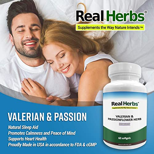 Real Herbs Valerian Root Pure Extract 4 1 400mg and Passion Flower Powder 300mg – 700mg – Natural Sleep Aid, Promotes Calmness and Peace of Mind – 50 Vegetarian Capsules – Gluten Free
