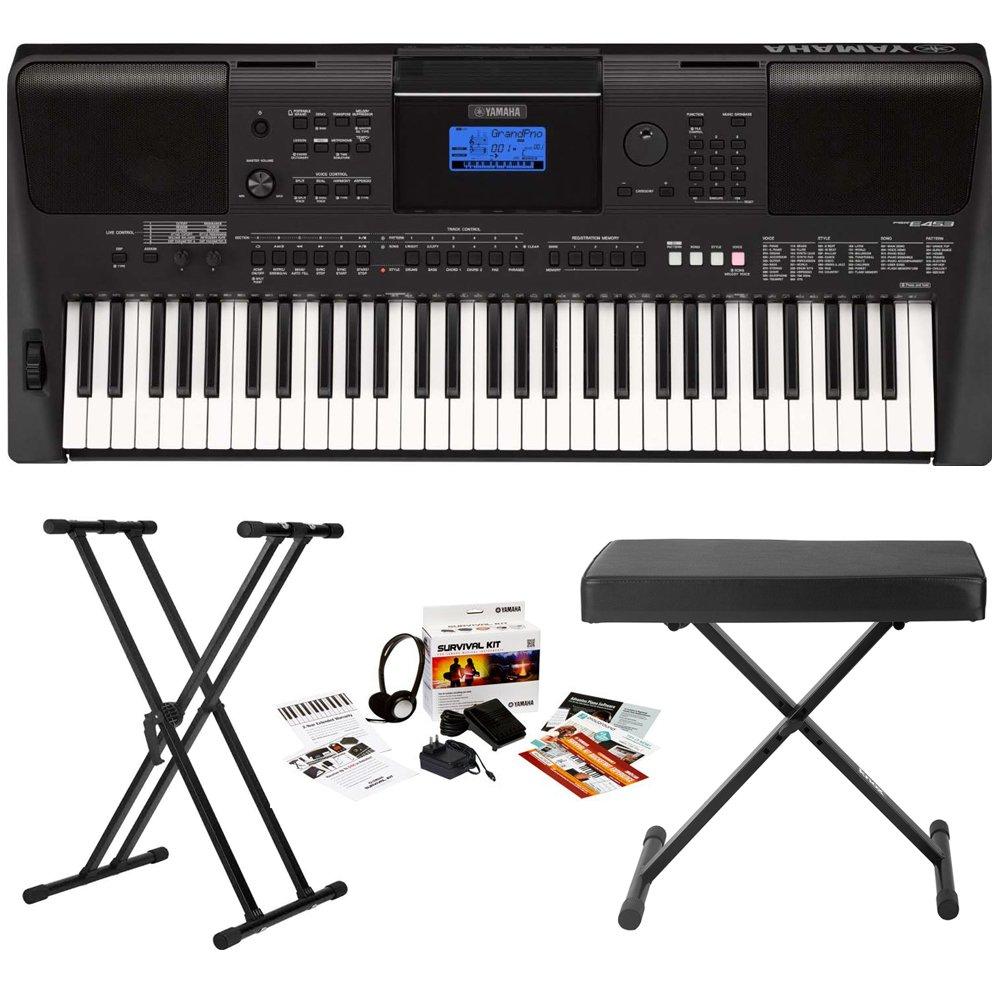 Yamaha PSR-E453 61-Key Touch Response Portable Keyboard w/ Yamaha Survival Kit & Knox Stand/Bench