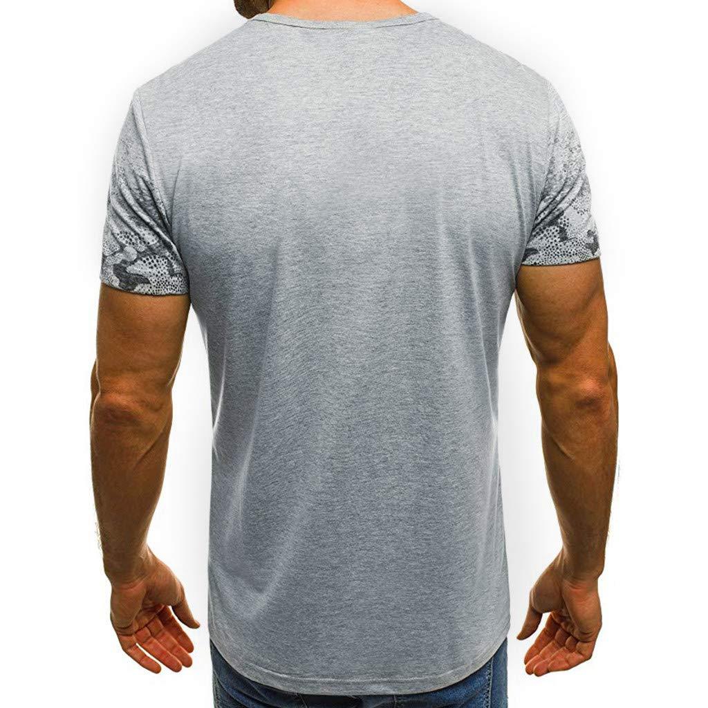 Misaky Mens Summer Slim Casual Print Camouflage O-Neck Fit Short Sleeve Top Blouse Misaky-Shirt-0313