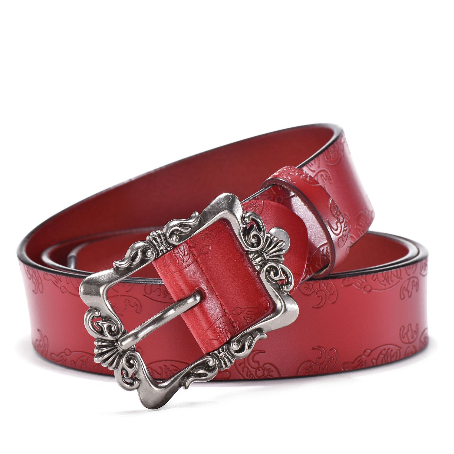 TUNGHO Genuine Leather Belts For Women Cowhide Embossing Design Carving Buckle Plus Size XXL (M, Max pants size 38'', Silvery Buckle/Red)