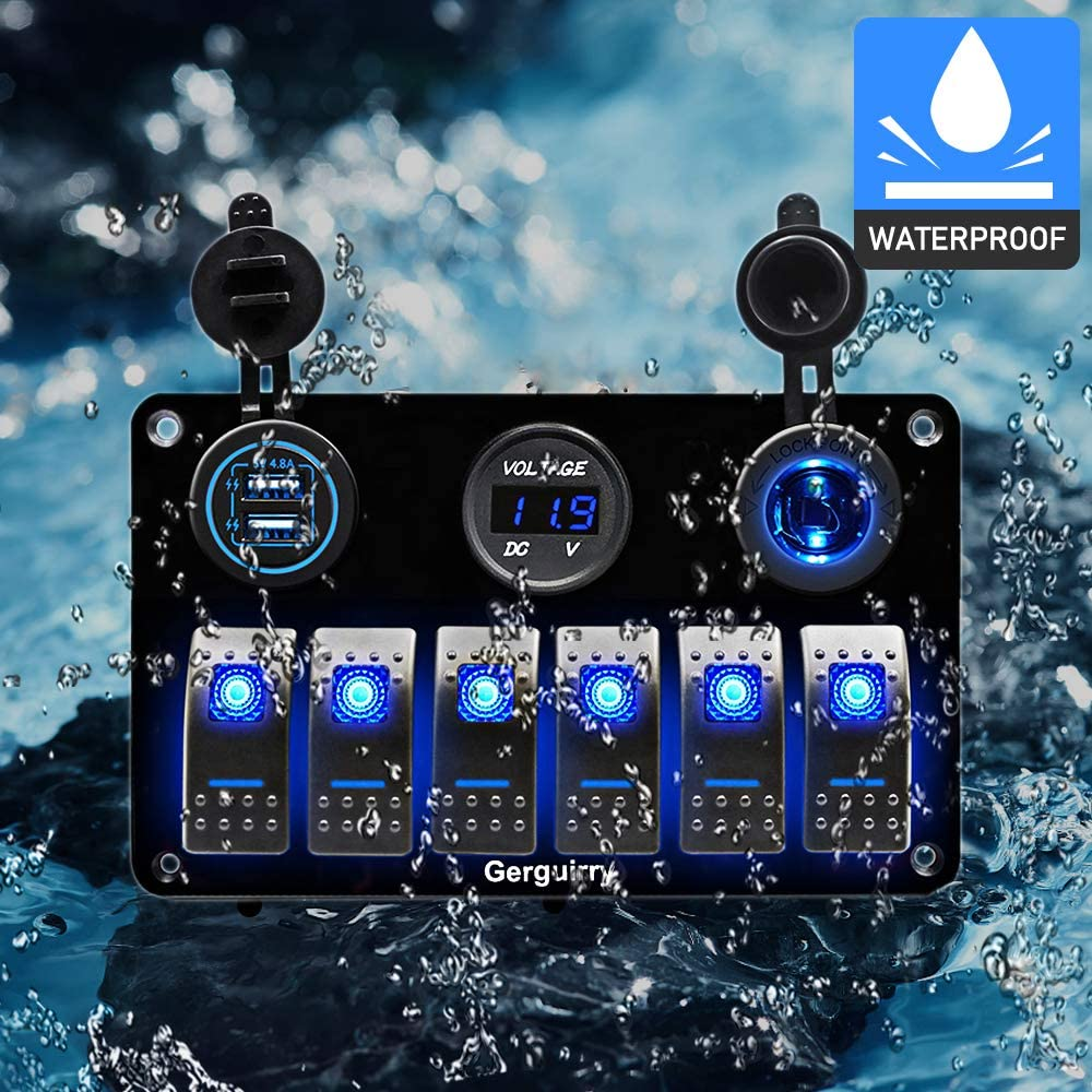 6 Gang Waterproof Marine Boat Rocker Switch Panel with Blue//Red LED Backlight for Car SUV Marine RV Truck Camper Boat Gerguirry 3//4