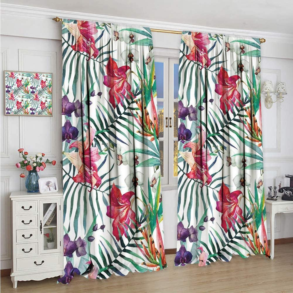 Homrkey Kids Curtain Floral watercolored Tropical Exotic Foliage Vibrant Color Palette Hawaiian Summer Season Print Soundproof Privacy Window Curtains Multicolor W72 x L72 Inch