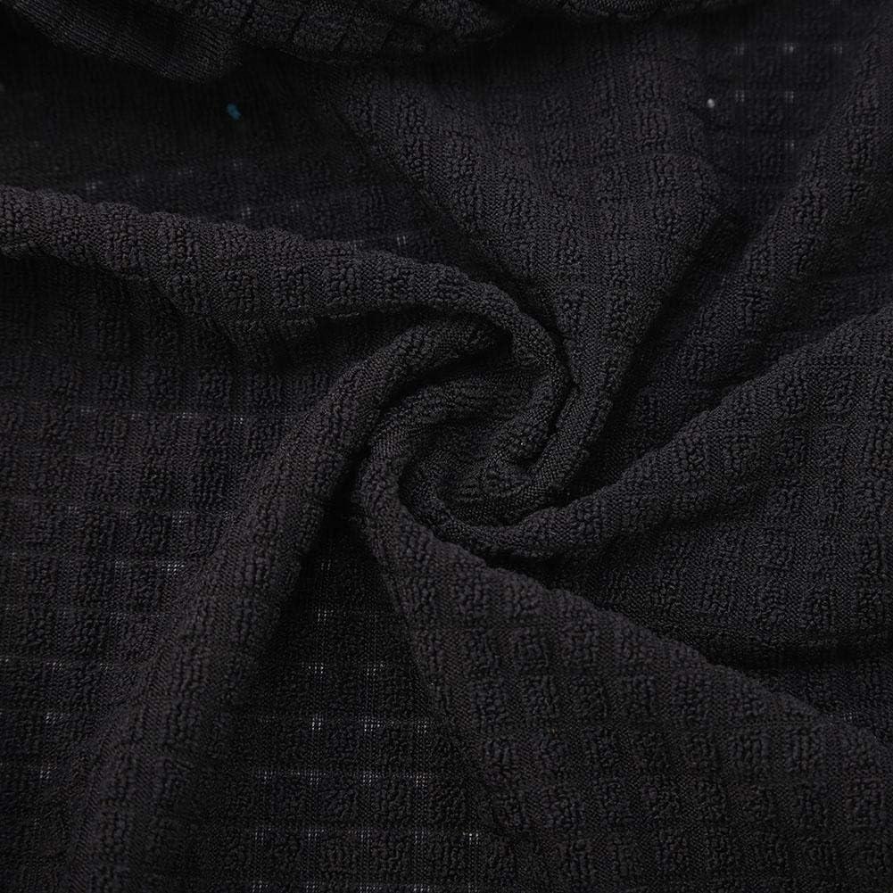 Fditt 4 Pezzi Elastico Cuscino coprisedile Lavabile Impermeabile per Sedia da Cucina Jacquard per Cucina Black