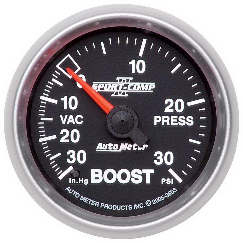 Auto Meter 3603 Sport-Comp II 2-1/16'' 30 in. Hg/30 PSI Mechanical Vacuum/Boost Gauge