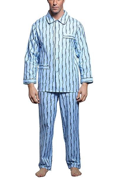 Dolamen Pijamas para Hombre Algodón, 2018 Hombre Pantalones de Pijama Largos Primavera Hombre Camisones Collar