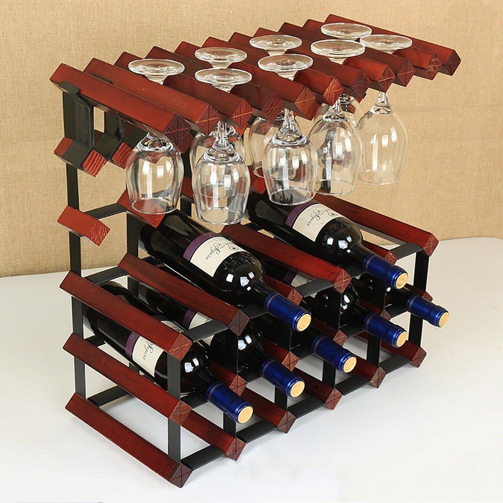 ワインラック ワインラックソリッドウッド6本ワインディスプレイ棚ワイングラスラック家庭用レストランリビングルームワインラック (色 : B) B07GWX5Y11 B B
