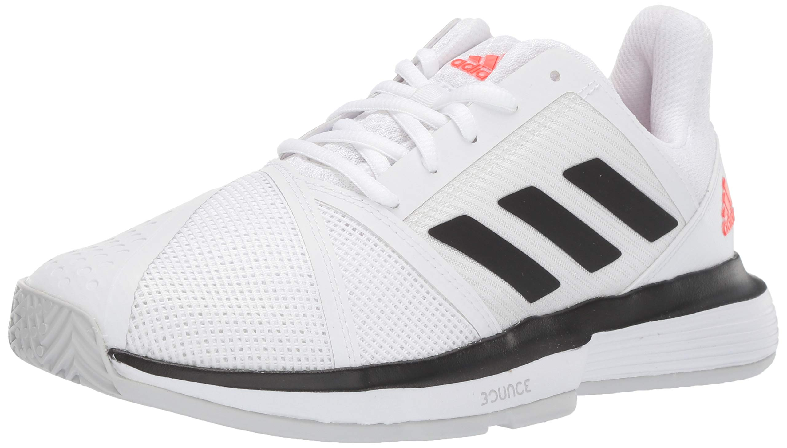 adidas Men's CourtJam Bounce Tennis Shoe, White/Black/Light Grey Heather, 6.5 M US