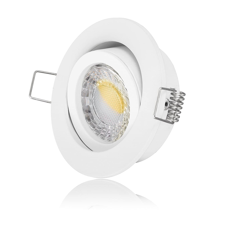 5 x LED Einbaustrahler Set dimmbare Farbtemperatur + Einbaurahmen 230V EXTRA FLACH Ra  90 (5er Set 1800K-3000K dimmbare Farbtemperatur)