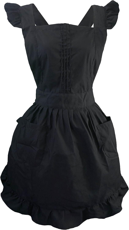 DE Petite Taille Plus pour Femme LilMents Lot r/étro r/églable /à Volants Tablier avec Poches