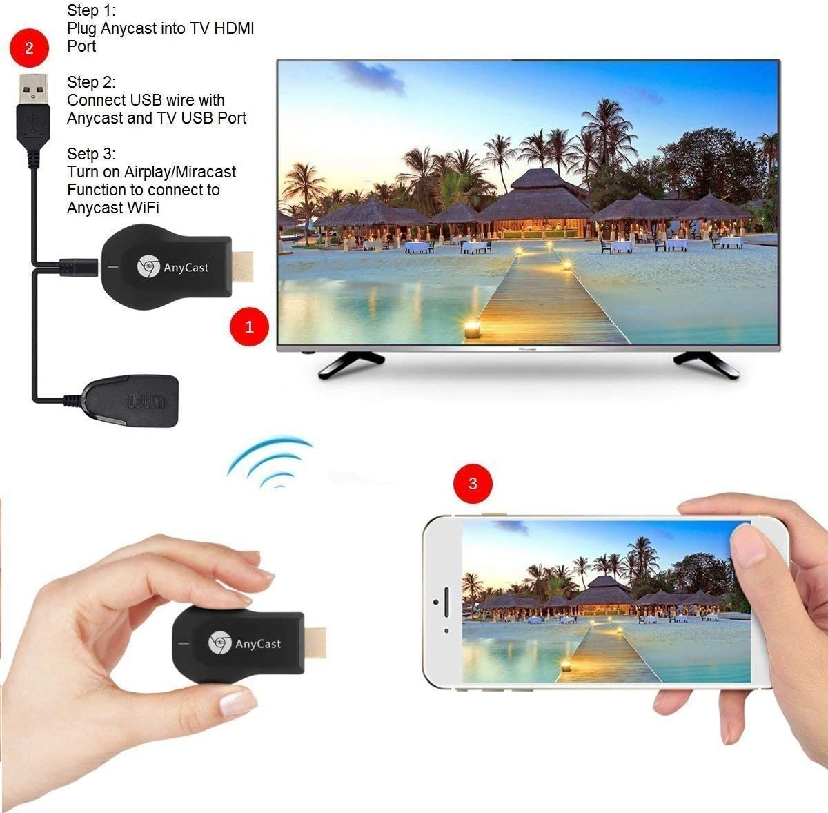 Anycast WiFi Display Dongle Wireless Screen Mirror 1080P HDMI TV Stick Wireless Display Adapter Support Miracast DLNA Airplay for ...