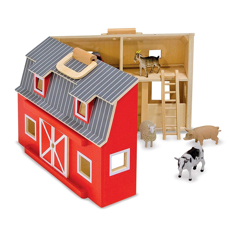 Melissa & Doug Fold and Go Wooden Barn With 7 Animal Play Figures