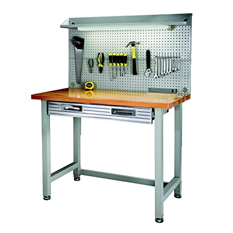 Peachy Hardwood Top Workbench Garage Worktable With Integrated Light And Pegboard Andrewgaddart Wooden Chair Designs For Living Room Andrewgaddartcom