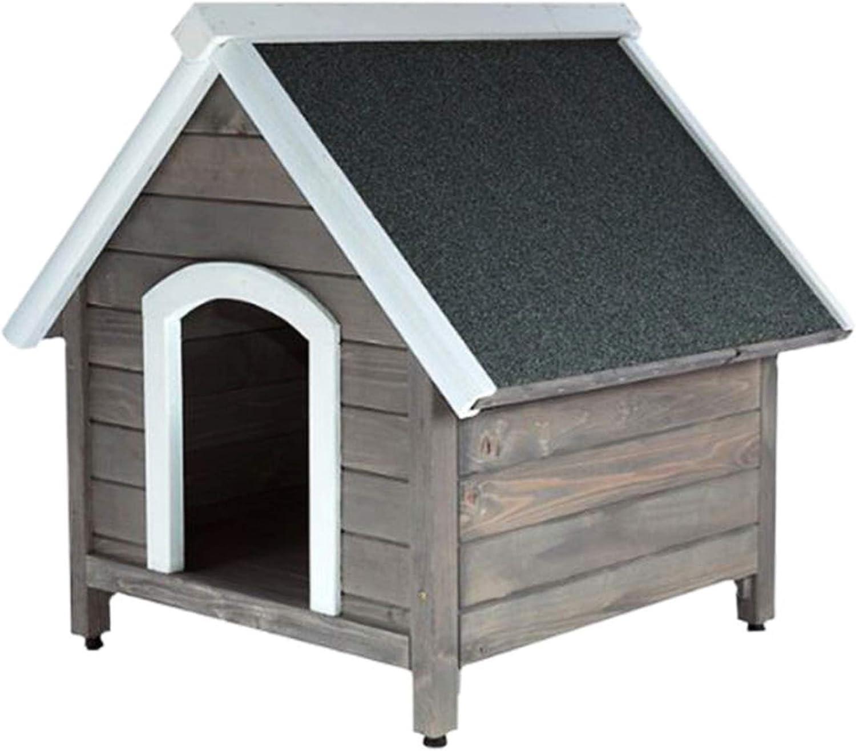 RM E-Commerce - Caseta para perros de madera con techo puntiagudo, caseta de madera para perros medianos y grandes, 84 x 100 x 88 cm