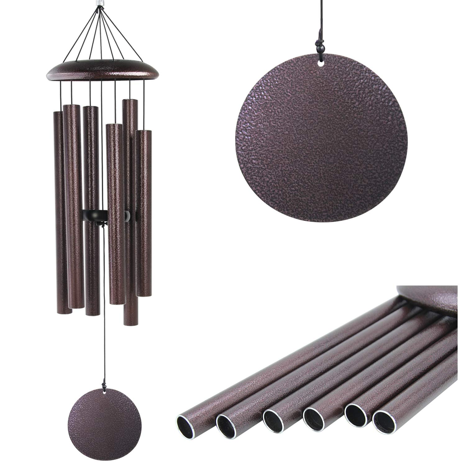 Large Wind Chimes Outdoor Deep Tone,Sympathy Wind Chimes Amazing Grace Outdoor with 6 Metal Tuned Tubes,Memorial Wind Chimes Personalized for Garden Balcony Patio and Home Decor,Bronze 36'' by Astarin