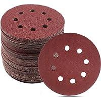 100Pcs 5 Inch 8 Holes Hook and Loop Sanding Discs, BAISDY Sandpaper Assorted 40/60/80/100/120/180/240/320/400/800 Grits for Random Orbital Sander
