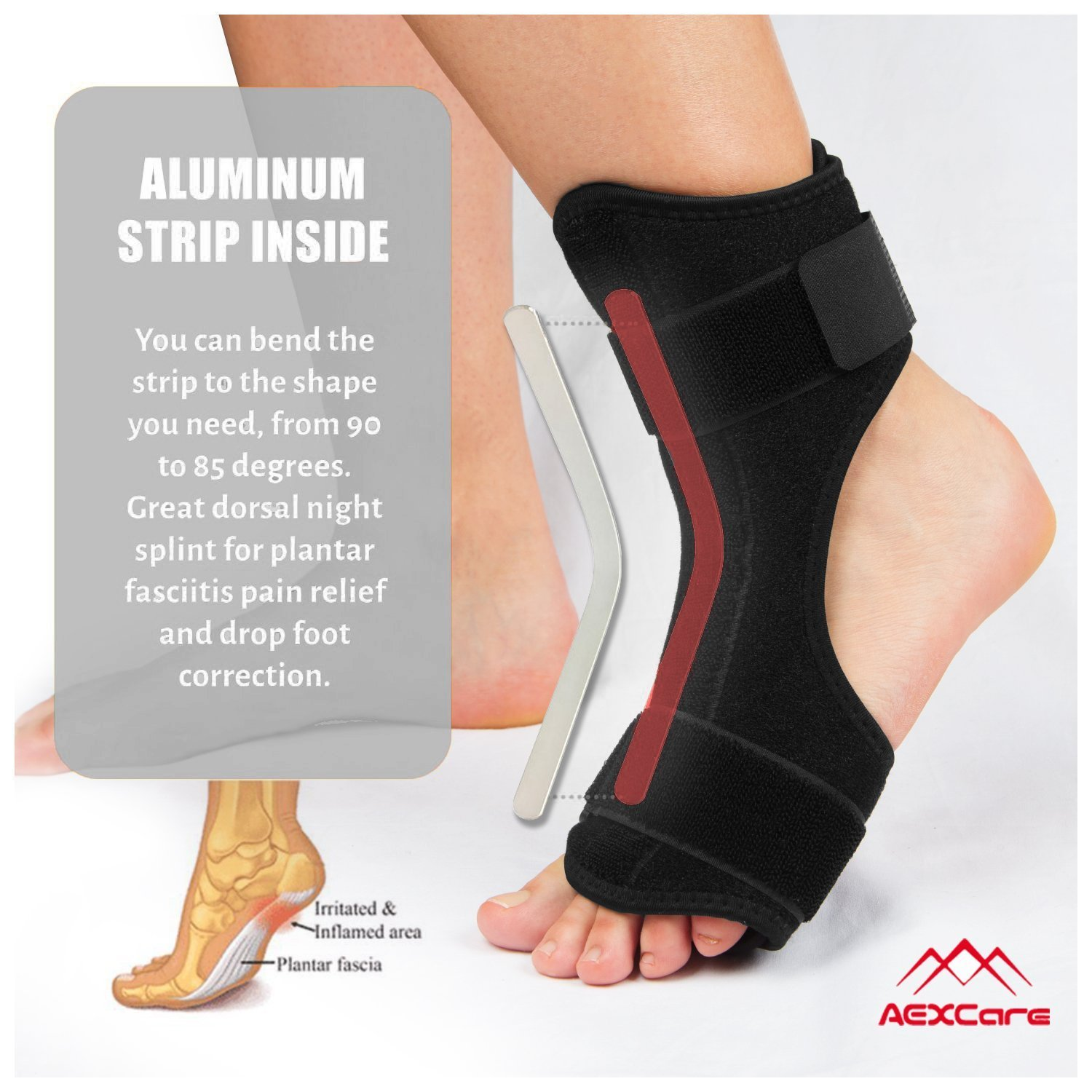 Plantar Fasciitis Foot Brace Night & Day Splint, Injury Support for Heel Pain Relief, Adjustable by AEXCare by AEXCare (Image #5)