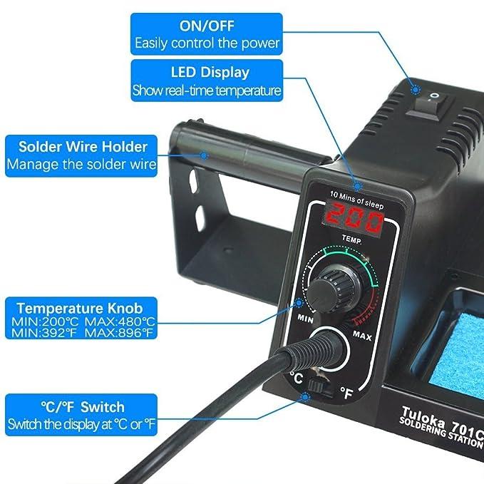 Tuloka Estación de Soldadura Digital 60W Kit del Soldador Eléctrico 200-480℃ con Pantalla LED y Interruptor, Función Parada Automática, Soldador Seguro del ...