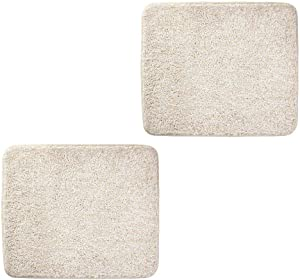 """mDesign Soft Microfiber Polyester Non-Slip Small Rectangular Spa Mat, Plush Water Absorbent Accent Rug for Bathroom Vanity, Bathtub/Shower, Machine Washable - 2 Pack, 21"""" x 17"""" - Heather Linen/Tan"""