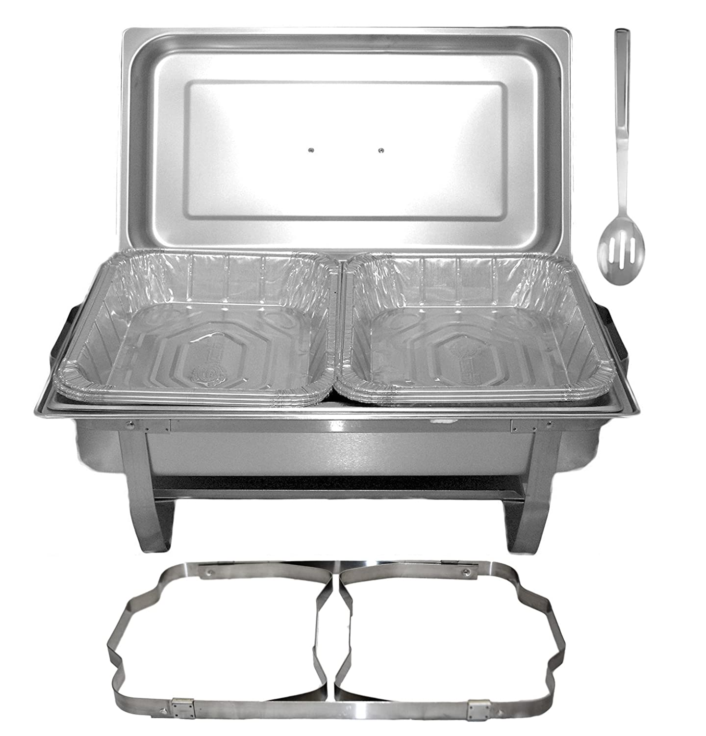 Tiger Chef 8 Quart Full Size Stainless Steel Chafer with Folding Frame and Cool-Touch Plastic on top - includes 6 Disposable Half Size Pans and a Slotted Spoon Foldable Chafing Dish