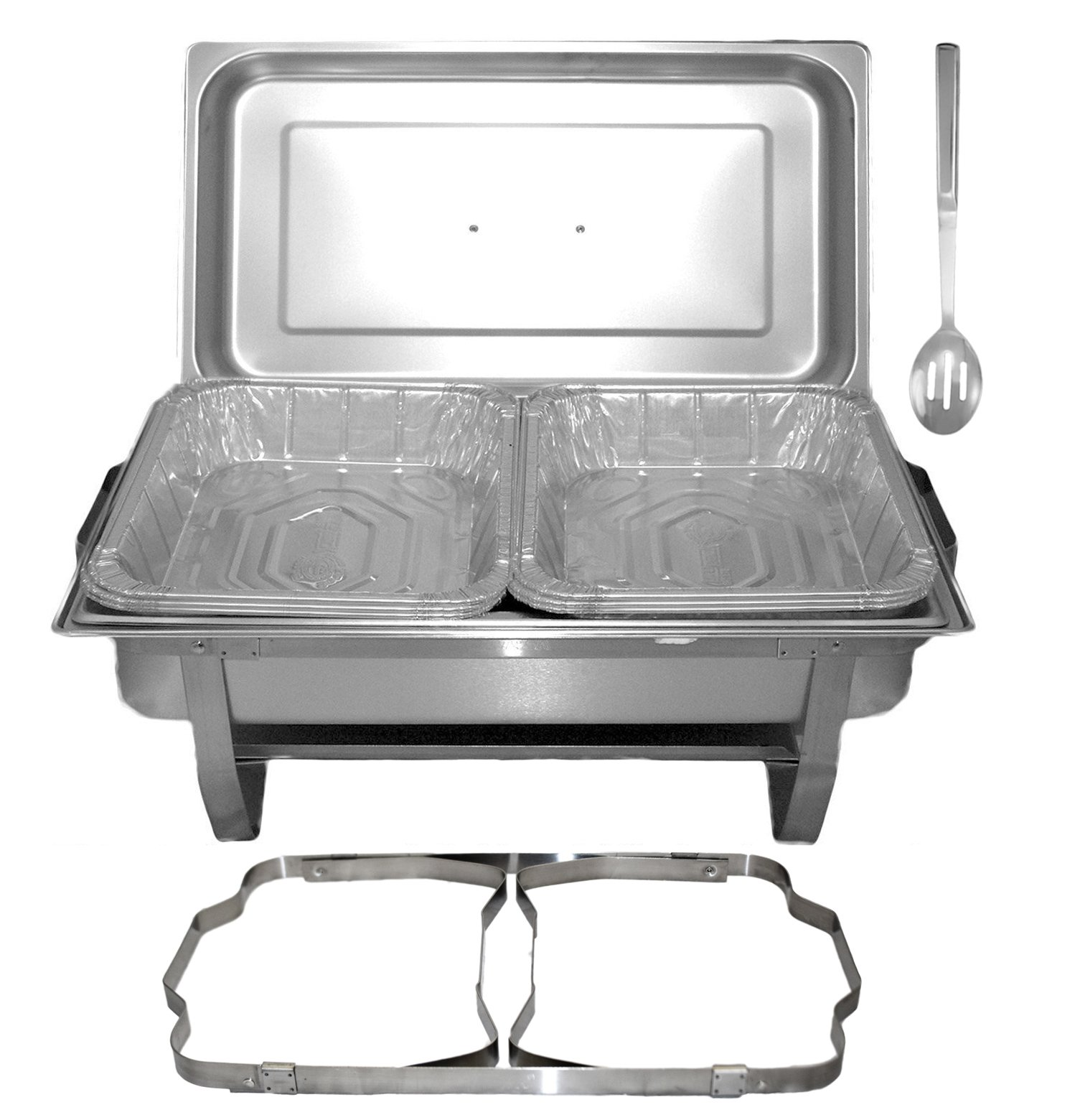 Tiger Chef 8 Quart Full Size Stainless Steel Chafer with Folding Frame and Cool-Touch Plastic on top - includes 6 Disposable Half Size Pans and a Slotted Spoon