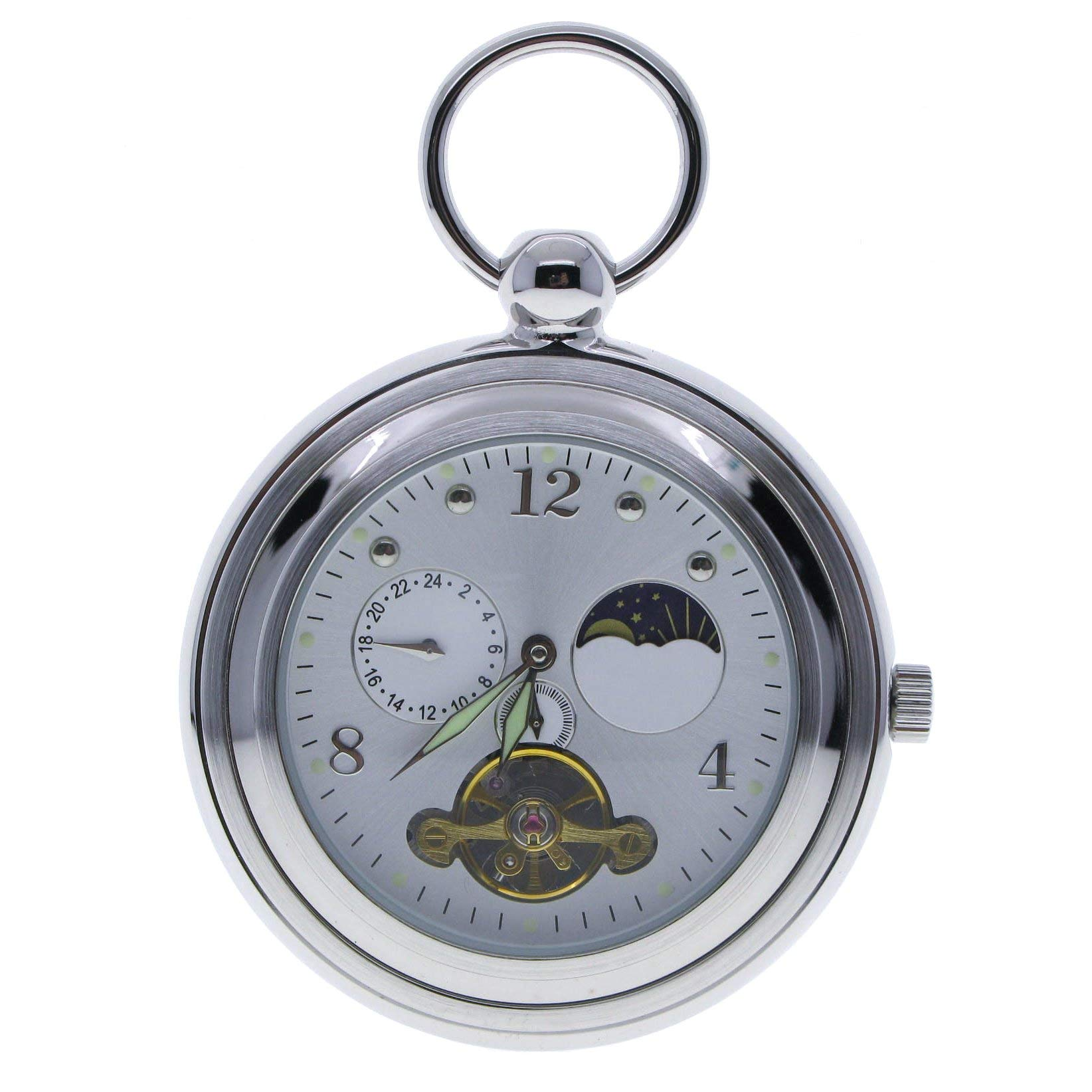 Tourbillon Mechanical Pocket Watch Skeleton Moon Phase Silver Open Face Luminous Hands P304 by watchvshop